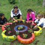 Building raised beds from old worn tyres